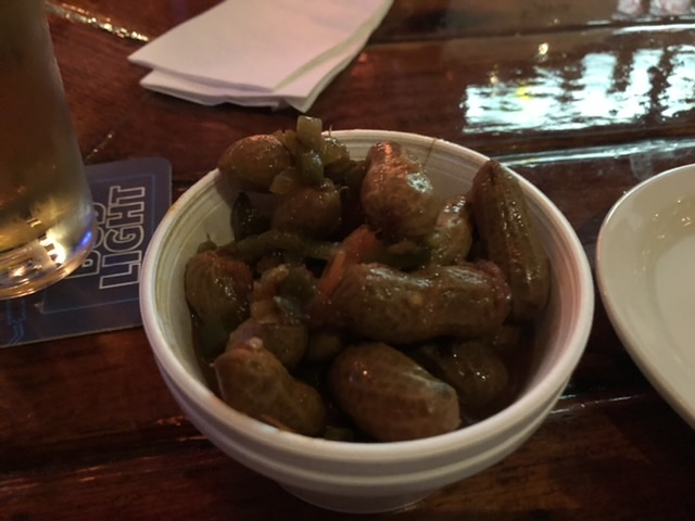 Free Cajun boiled peanuts when you sit at the bar.